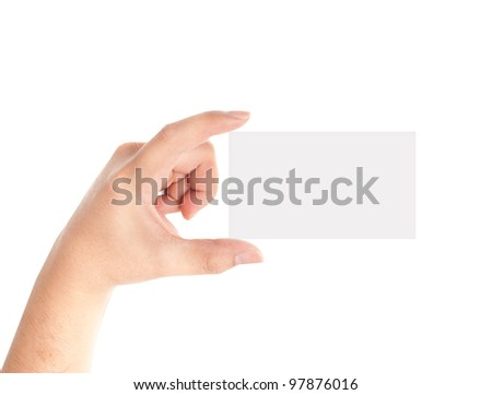 Hand holding blank card isolated on white background