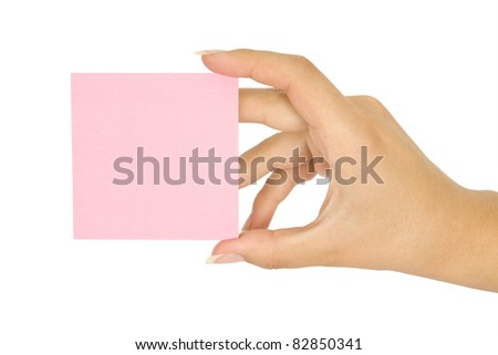 hand holding blank card pink