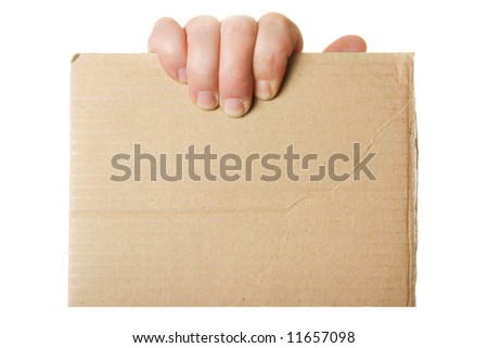 Hand holding blank cardboard, put your own text here - stock photo