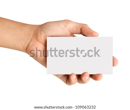hand holding blank paper Isolated on white - stock photo