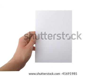 hand holding blank paper sheet - stock photo