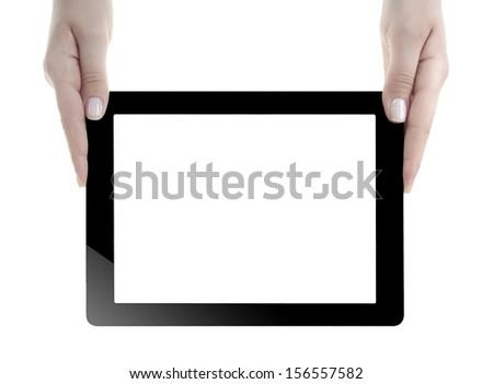 Hand Holding blank screen Digital Tablet  - stock photo