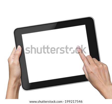 Hand holding blank screen Tablet pc.