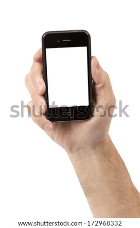 Hand Holding Blank Smartphone XXXL/ Business Concept/ Shot Vertically On White Background