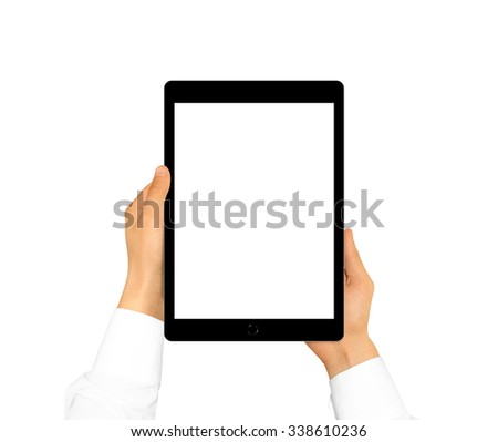 Hand holding blank tablet mock up isolated. New portable pc screen presentation. Empty display device mockup. Space touchscreen gadget hold in hands. Black hd wide screen monitor holder. - stock photo
