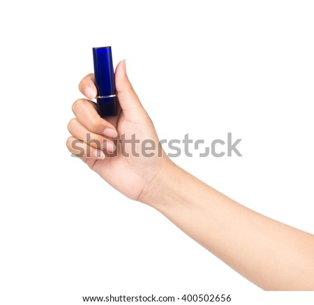 Hand holding blue Lipstick isolated on white