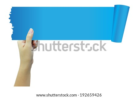 Hand holding blue paper with space for your copy. - stock photo
