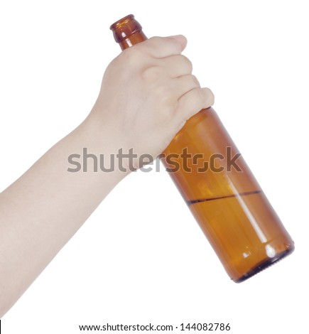 hand holding bottle of beer isolated