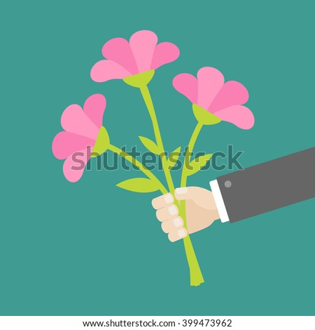 Hand holding bouquet of pink flowers. Flat design.