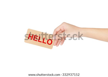 "Hand holding brown card with red word of ""..."" isolated on white with clipping path."