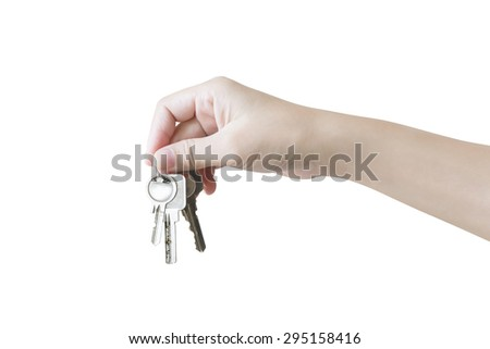 hand holding bunch of keys - stock photo