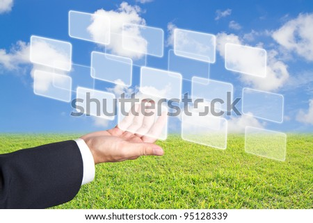 hand holding business  buttons - stock photo