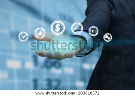 hand holding business icon. - stock photo