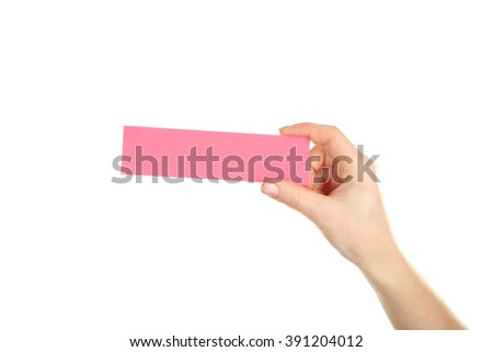 Hand holding card on a white background