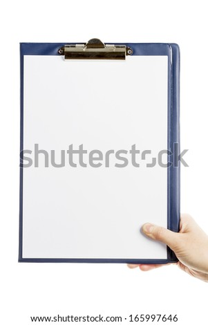 Hand holding clipboard with blank sheet of paper isolated on white background - stock photo