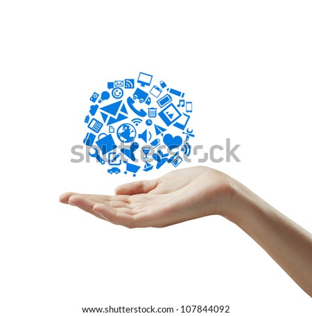 hand holding cloud symbol, isolated - stock photo