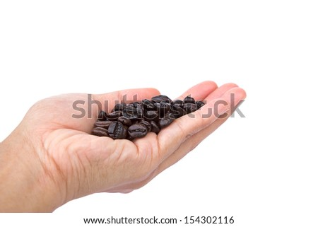 Hand holding coffee beans isolated on white  background - stock photo