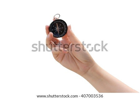 hand holding compass ,isolate white background - stock photo