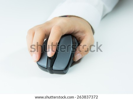 hand holding computer wireless mouse isolated on over white background