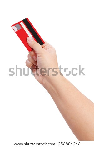 hand holding credit card isolate on white clipping path - stock photo