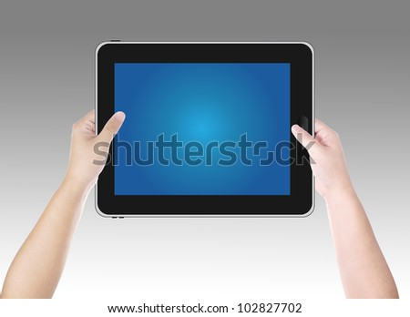 Hand holding digital tablet pc