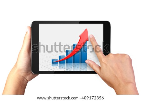 Hand holding digital tablet with business graph on display - stock photo