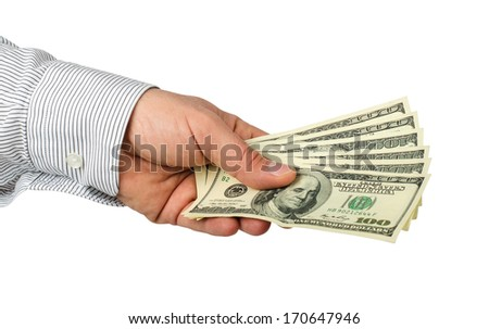 hand  holding dollars bills isolated on white background