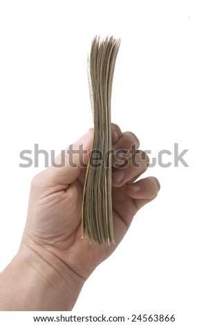 hand holding 10000 dollars  isolated on white