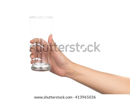 hand holding Empty wine glass isolated on white background