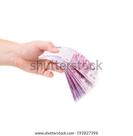 Hand holding euro banknotes. Isolated on a white background. - stock photo