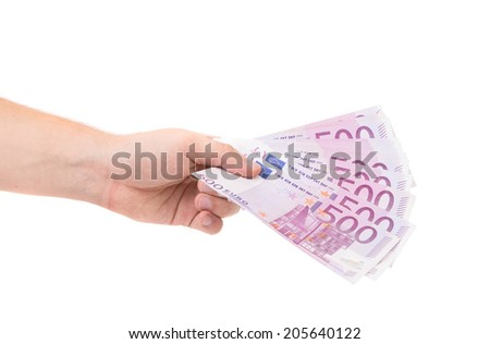 Hand holding five hundred-euro notes. On a white background.