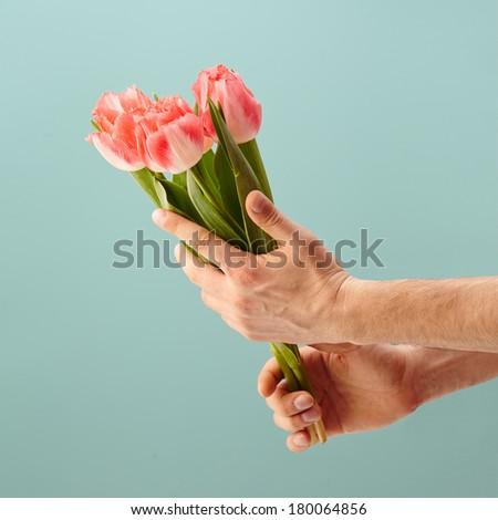 Hand holding flowers - stock photo