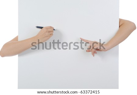 Hand holding fountain pen. Isolated on white background - stock photo
