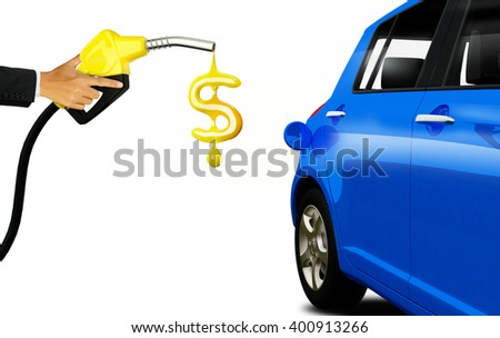 Hand holding  Fuel nozzle pouring Dollar coins isolated on white background - stock photo