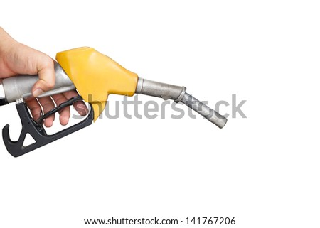 hand holding gas pump nozzle isolated on white - stock photo