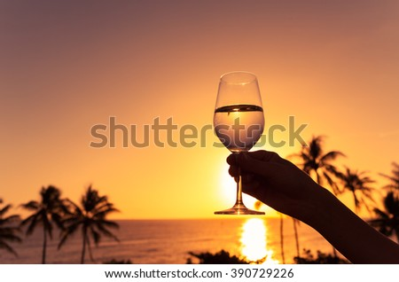 Hand holding glass of wine against a beautiful sunset.  - stock photo