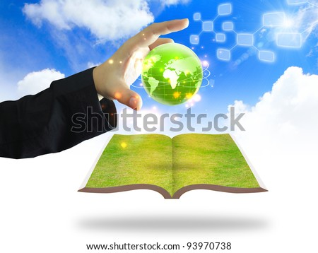 hand holding green earth concept - stock photo