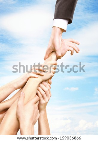 hand holding group hands, help concept - stock photo