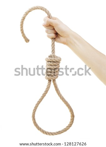 Hand holding hangman noose, isolated on white background. - stock photo