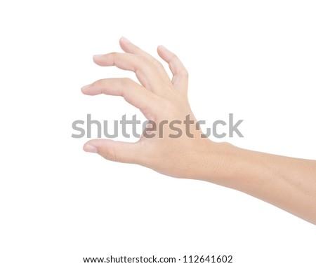 Hand holding isolated on white background - stock photo