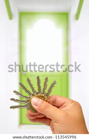 Hand holding keys with door in the background - stock photo