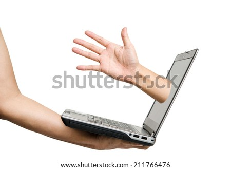 Hand holding laptop with request help hand, isolated on white background  - stock photo
