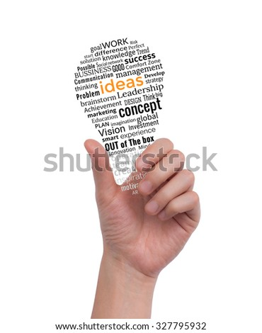 Hand holding light bulb made with words drawing. Idea concept business. - stock photo