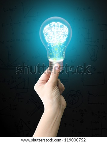 Hand holding lightbulb - stock photo