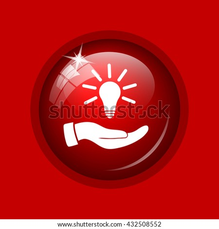 Hand holding lightbulb.Idea icon. Internet button on red background.