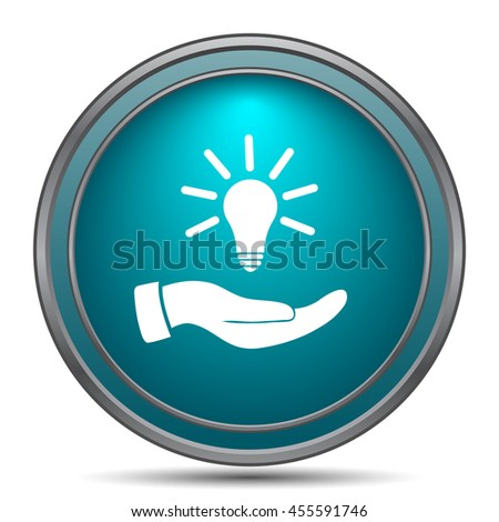 Hand holding lightbulb.Idea icon. Internet button on white background.