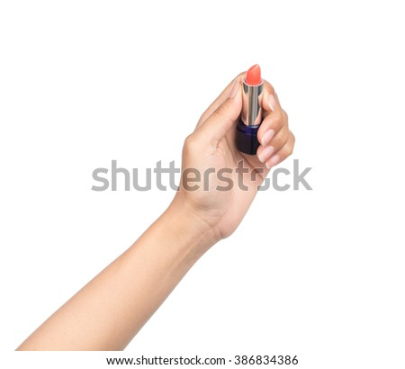 Hand Holding Lipstick Isolated On White Background