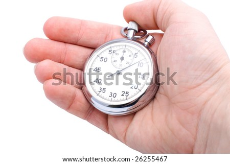 hand holding mechanical stopwatch isolated on white
