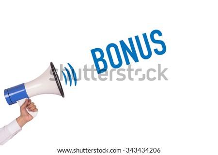 Hand Holding Megaphone with BONUS Announcement - stock photo