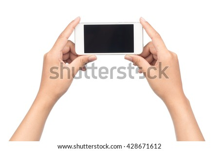 hand holding mobile phone isolated on white background.